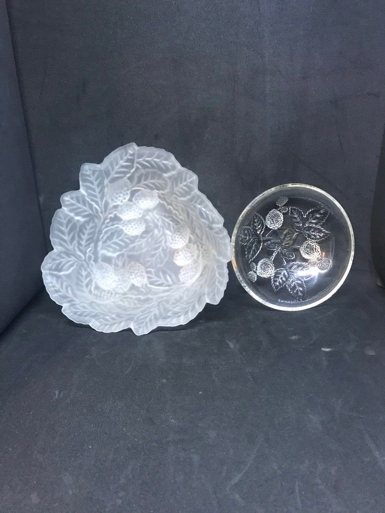 Indiana Glass Frosted Loganberry Bowl and Clear Loganberry  Raspberry  Blackberry Bowl