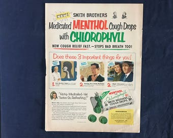 Vintage Smith Brothers Cough Drop Ad