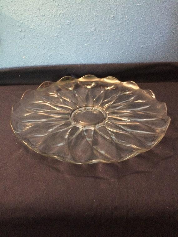 Heisey Glass Serving Platter Petal Design Etsy