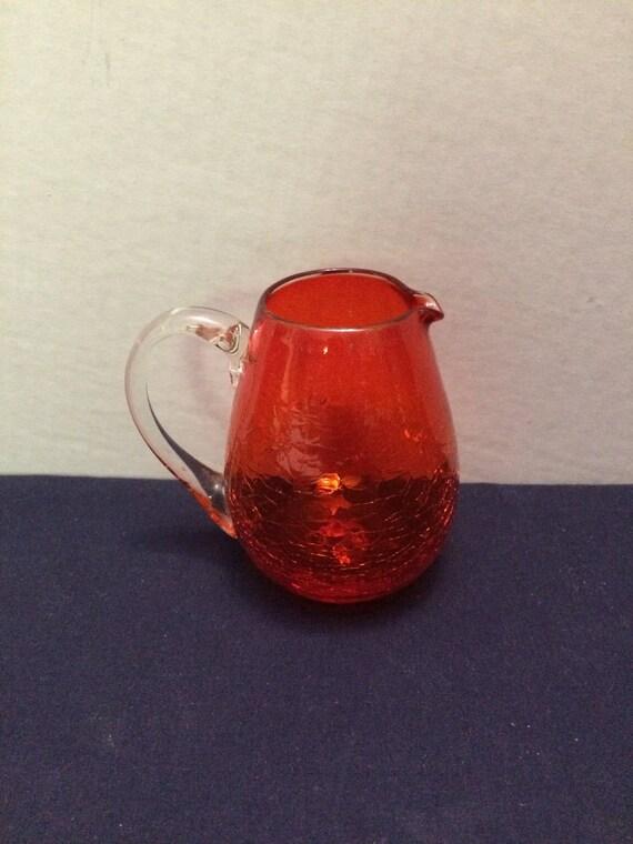 Vintage Red Crackle Glass Teardrop Shaped Pitcher Or Vase Etsy