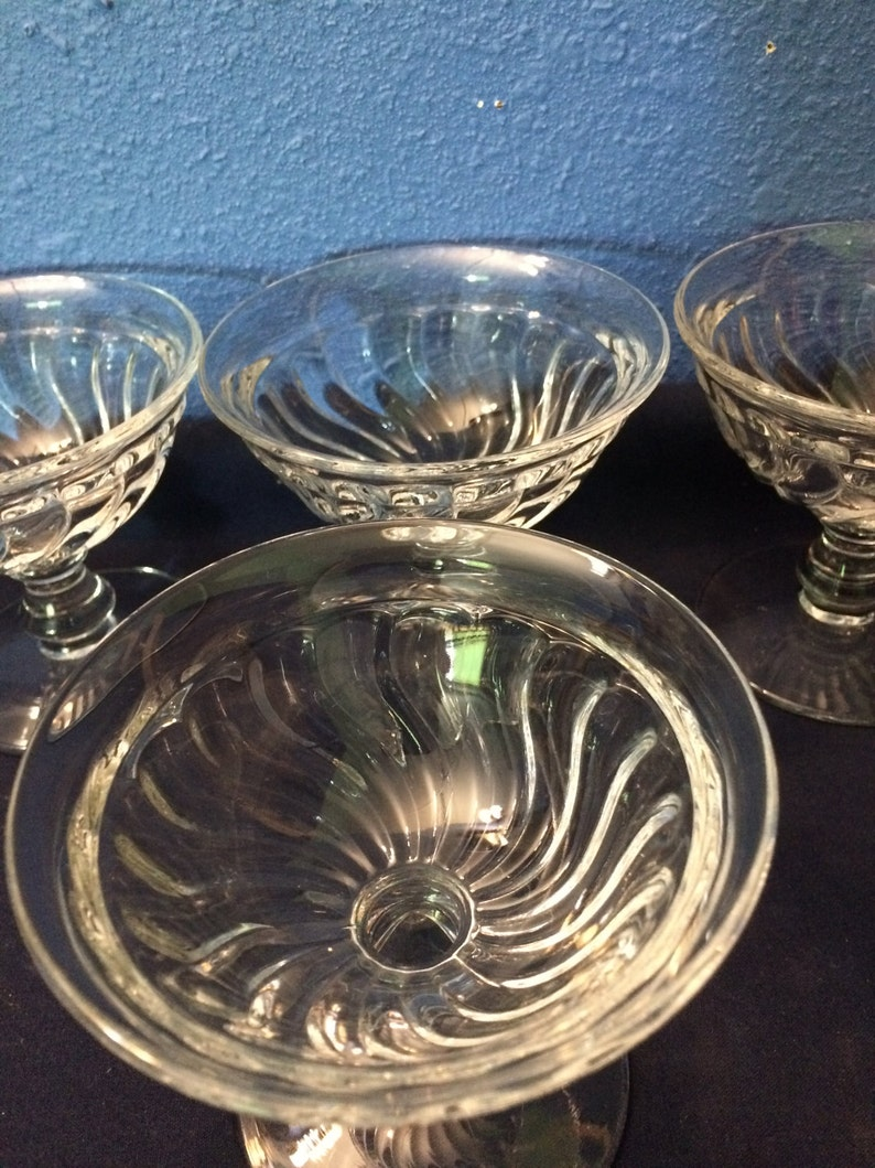 Depression Glass Footed Sherbets Set of Four