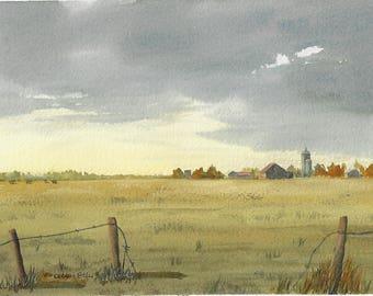 after the storm-clouds-original watercolour-farm-rural-guelph-ontario farm-decor-pastoral-cloudy sky