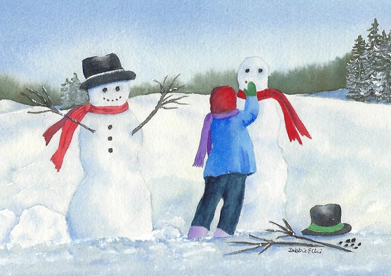 Making New Friends Christmas Card Greeting Card Snowman Card Child In The Snow Making Snowman Watercolour Card Blank Card