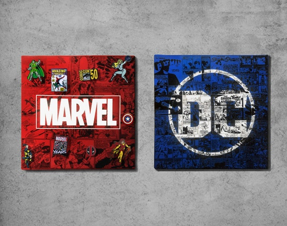 Dc Comics And Marvel Comics Custom Screen Printed Cork Pin Etsy