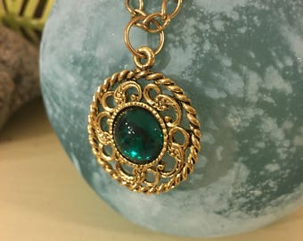 Vintage Gold Plated Costume Jewelry With Green Medallion Pendant And Floral Side Pendant