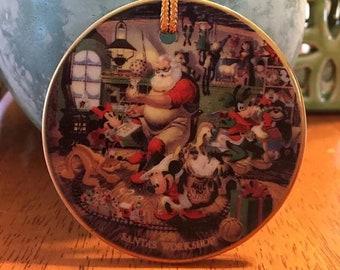 Walt Disney Santa's Workshop Christmas Disc Ornament 1993
