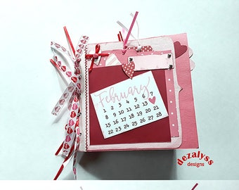 PREMADE SCRAPBOOK, Valentines Day, Paper Bag Scrapbook, Paper Bag Albums,  Premade Pages, Scrapbook, Small Gift, Mini Album, Paper Piecing,