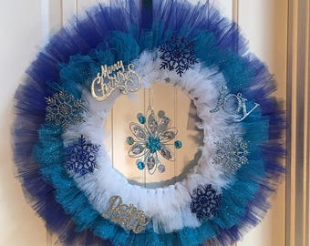 CLEARANCE Tulle Winter Wonderland Wreath, Christmas Wreath, Merry Christmas, Blue, White, Silver, Front Door Wreath, Whimsical