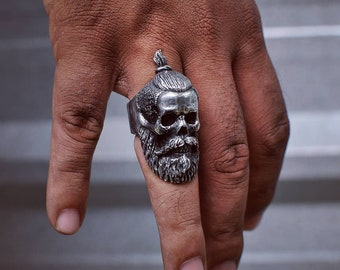 chicanos bearded skullring bearded skull ring bearded ring skullring mexico ring biker rings biker ring skullrings Iron Cross