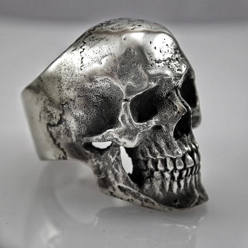 punk rock wear skeleton cult bikers ring satanic jewelry handmade jewelry Pewter skull ring Calvarium L cranium ring skull rings