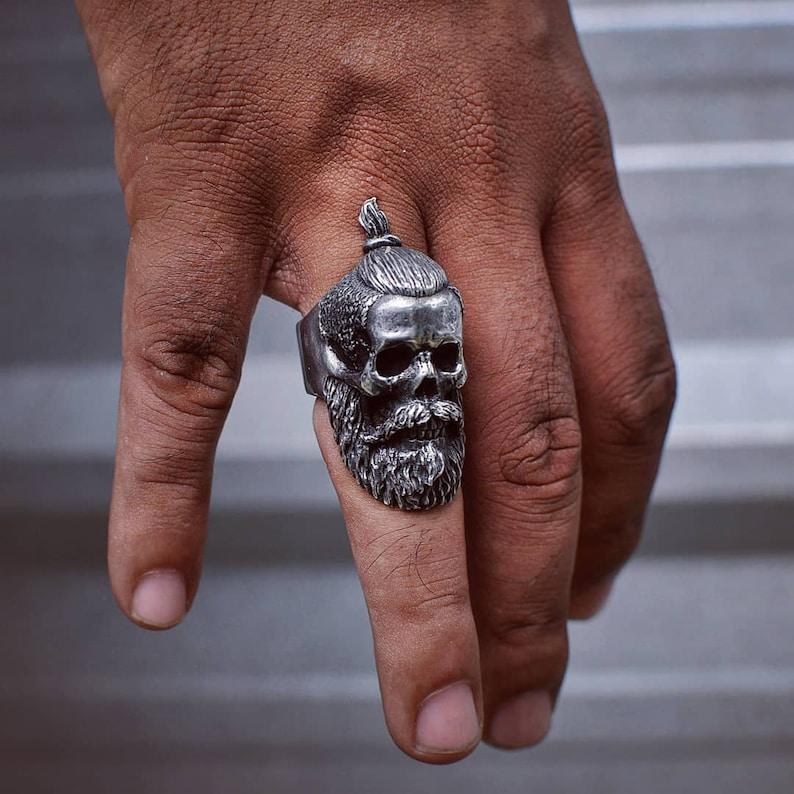 beard ring skull rings Beard man ring cult gentleman gear bikers ring rebel gears satanic jewelry bearded skull ring skull ring