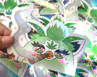 420 Furby Blaze it! Holographic Peeker Sticker