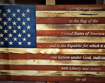 White /& BluePatrioticHandmadeRustic Pledge of AllegianceWood DecorRed