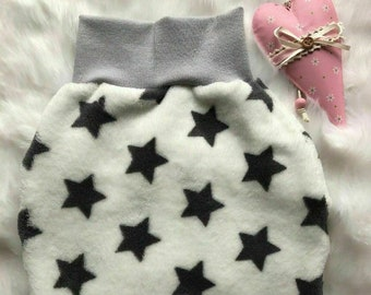 size 62 white with grey stars Handmade Pucksack Romper sack
