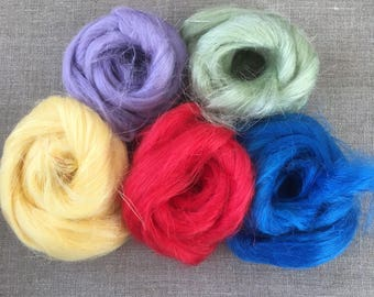Dyed Flax Sample Pack Vegan Fiber 100 gr Needle Felting Spinning Red Green Blue Yellow Purple Spin Flora plant fibre  Free Shipping
