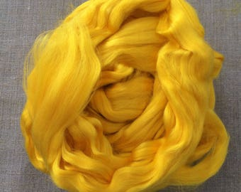 Yellow Bamboo Dyed Roving Vegan  Fiber 100 gr Spin Flora plant fibre combed top viscose doll hair needle felting hand spinning Free Shipping