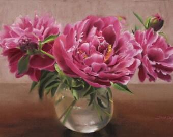 The pink peonies flowers greeting card