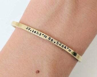 Dainty Coordinate Bracelet // Gold Brass Coordinate Cuff + Custom Coordinates + Friendship Bracelets + Best Friend Bracelet + Gift for her