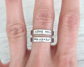 613f638e2ad1ed Custom Stacking Ring Personalized Rings Friendship Jewelry Best Friends  Customized Coordinate Ring Christian Cross Coordinates