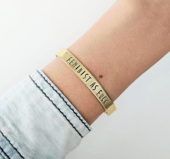 Personalized Feminist Bracelet Feminist Jewelry Nevertheless Etsy
