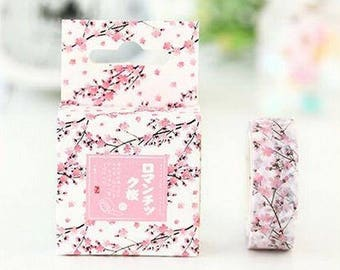 Cherry blossom washi tape, date sticky tape, paper tape, bullet journal accessories, BUJO, planner, scrapbook masking tape, adhesive tape