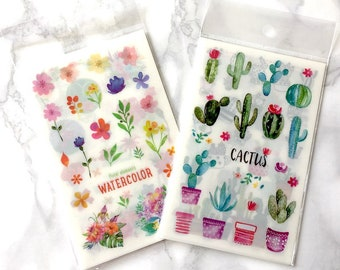 Watercolour planner stickers, cacti, floral, school supplies, bullet journal accessories, travel journal, back to school, journal stickers