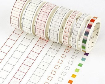 To Do list washi tape, school supplies, Check Box, bullet journal accessories, check list, productivity, rainbow washi, squared washi tape