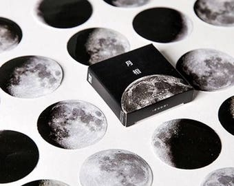 Moon phase washi stickers, bullet journal accessories, space stickers, washi tape, kawaii, scrapbook, patterned stickers, decorative sticker
