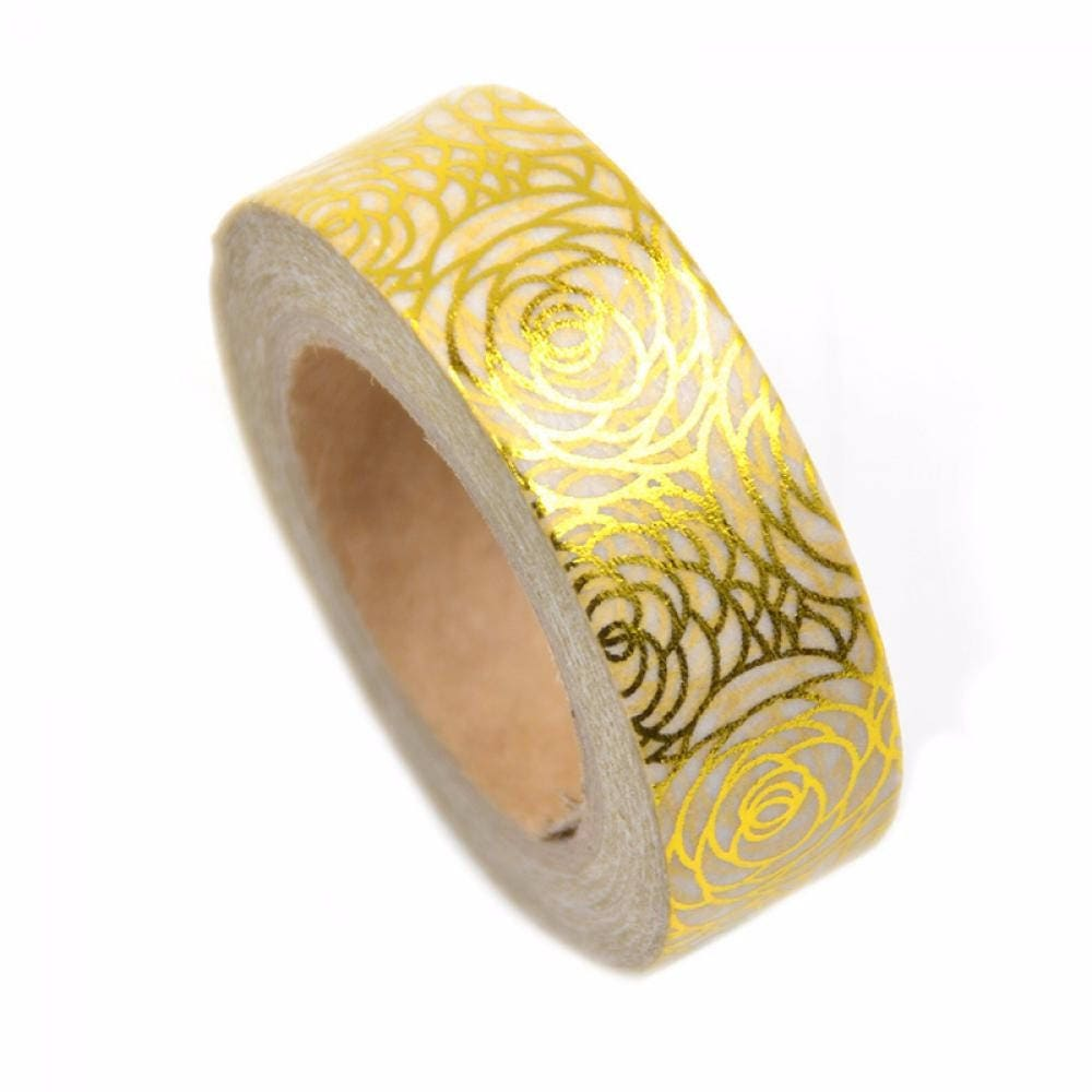 Gold rose tape rose gold metallic washi tape adhesive tape for Rose adesive