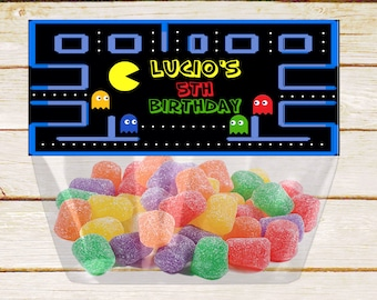 Pacman Favor Bag Topper Birthday Party Arcade Game Printable Toppers Supplies