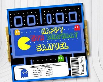 Chocolate bar wrapper Pacman, Arcade game chocolate wrap, Arcade game theme birthday, Pacman birthday, Pacman party, Candy bar wrapper