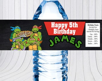 Ninja Turtles water bottle label, Ninja Turtles birthday, Ninja Turtles water bottle wraps, Ninja Turtles printable water bottle wrap