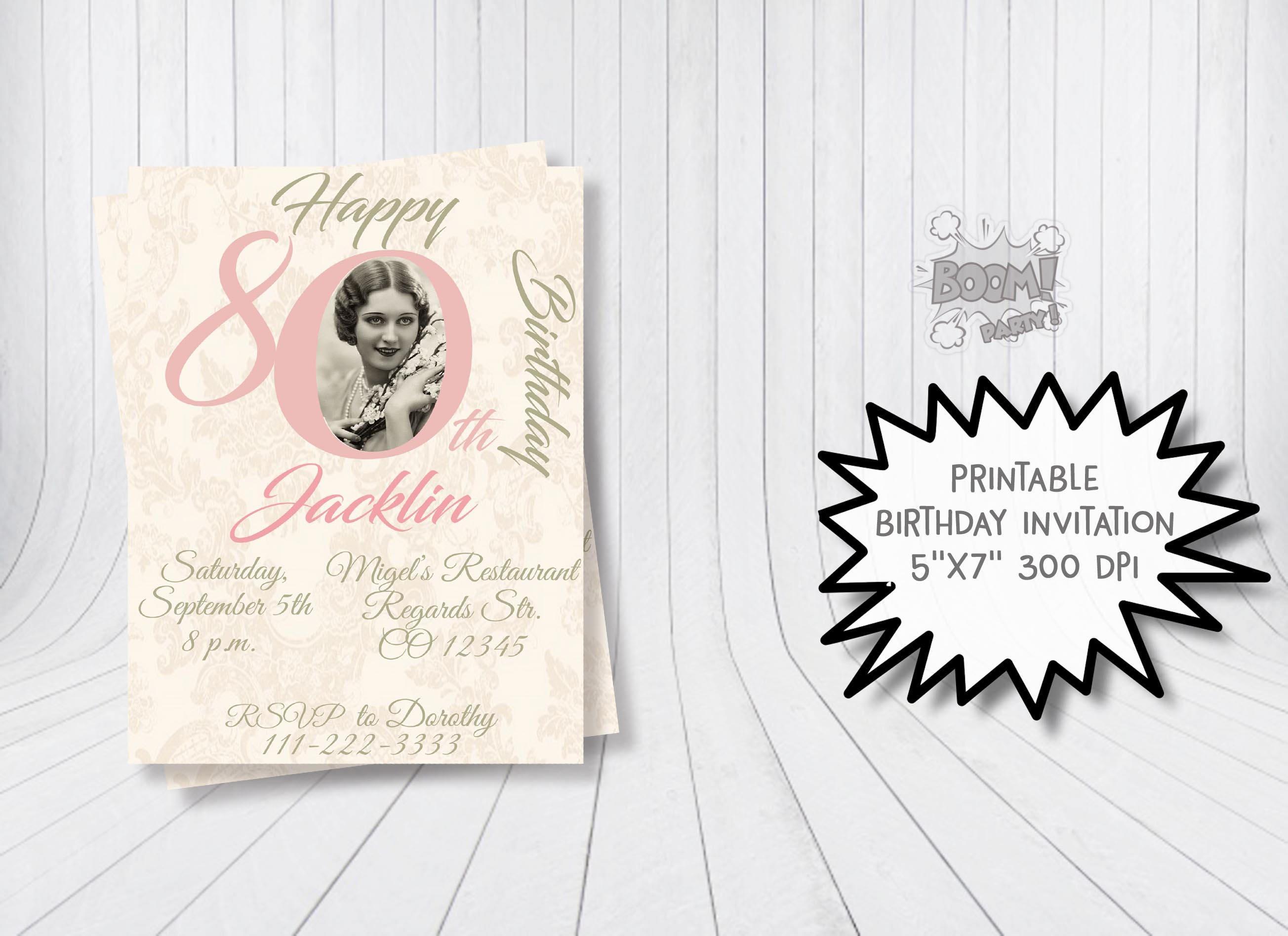 80th birthday invitation adult birthday invitation 80th | Etsy