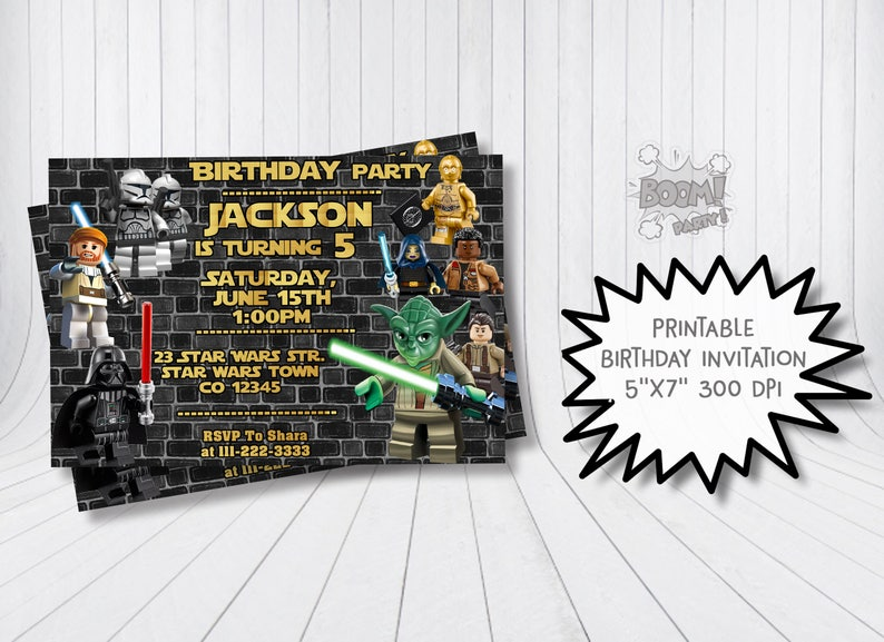 Star Wars Birthday Invitation Yoda