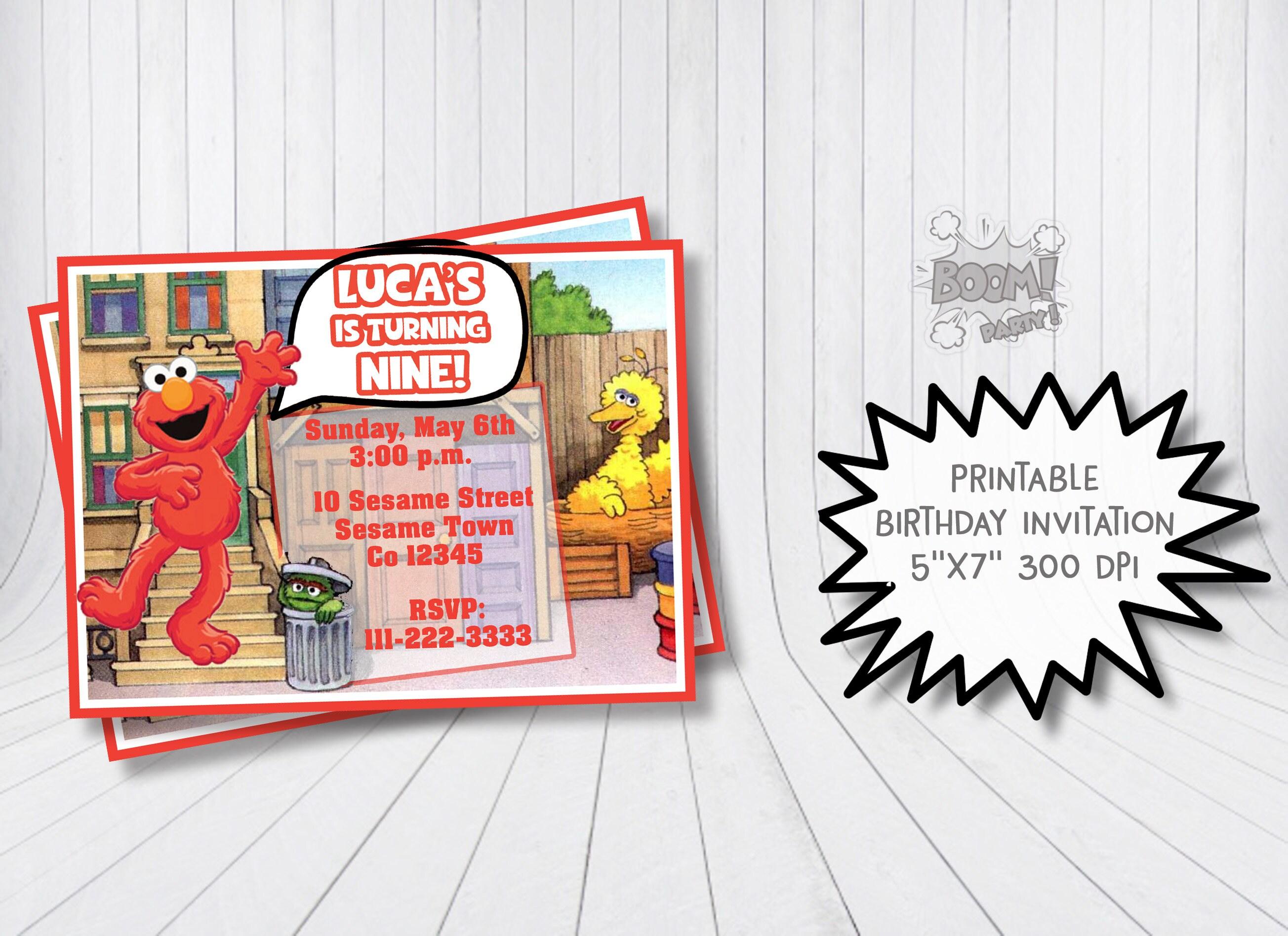 Elmo invitation Sesame Street invitation Elmo birthday | Etsy