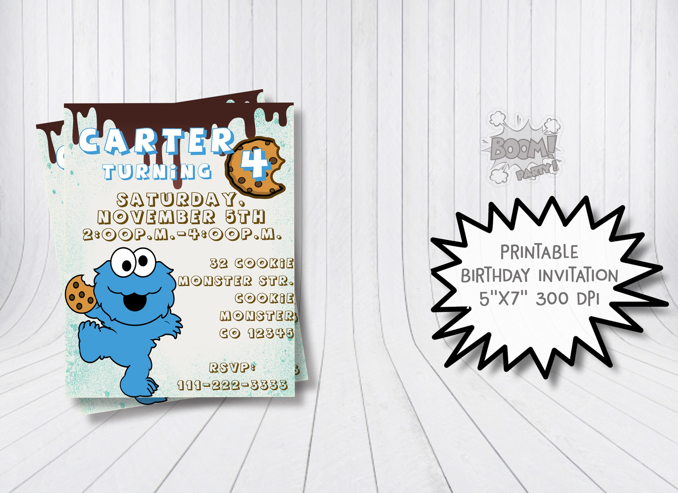 Cookie Monster invitation Cookie Monster birthday party | Etsy