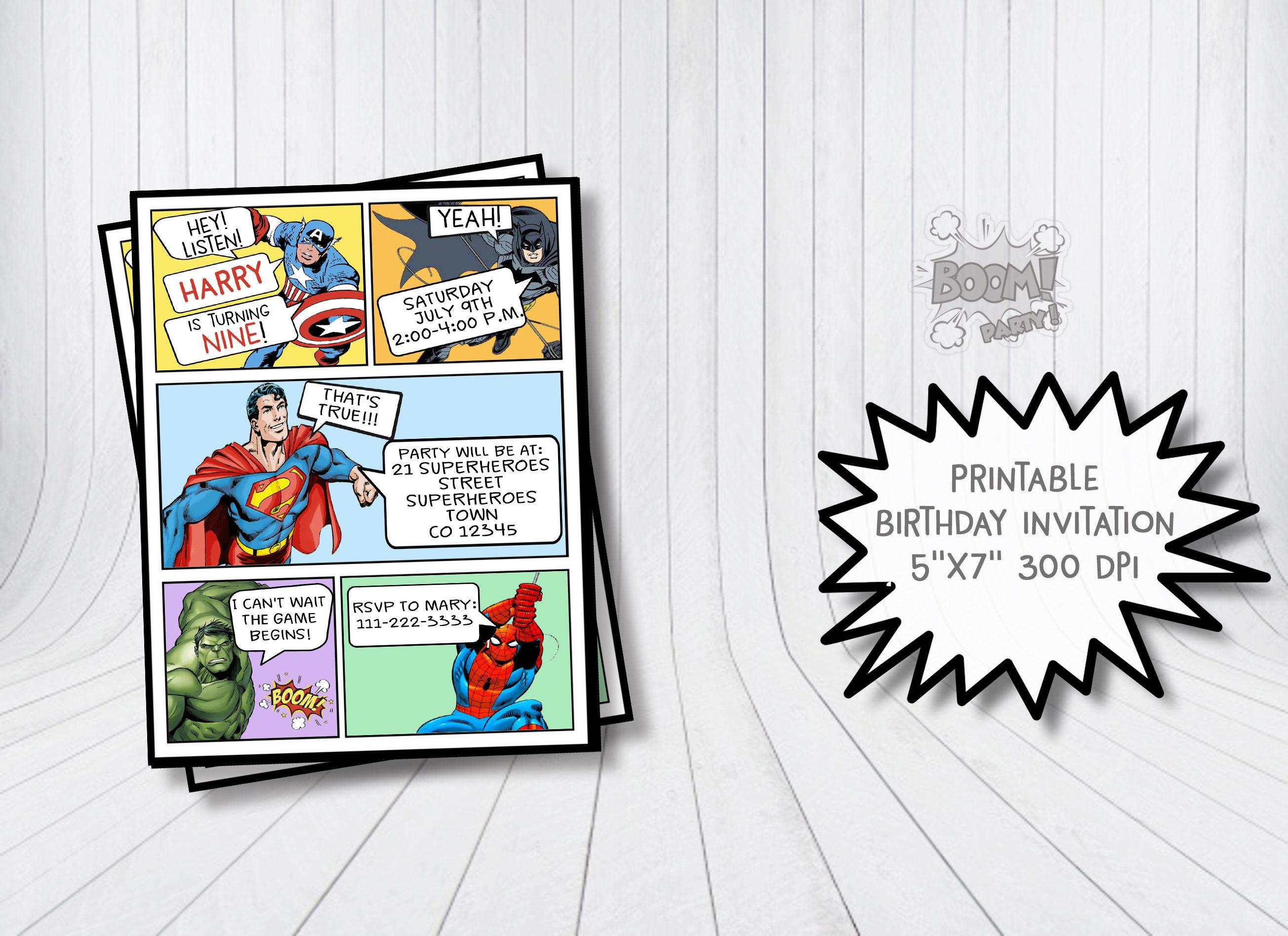 Comic invitation Superhero invitation Superhero birthday | Etsy