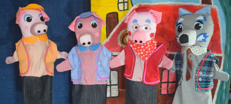 The three little pigs and the wolf wonderful unique handmade image 0