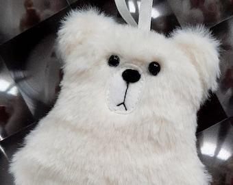 Polar bear decoration, Christmas tree ornament, shy polar bear hanging plushie, stocking filler gift