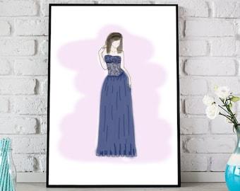 Fashion Illustration Print, Fashion Wall Art, Fashion Print, Digital Wall Art, Printable Art, Classy Lady Wall Decor - 2 Files Included