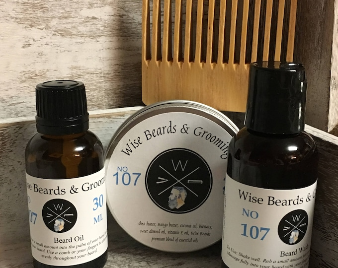 Beard Oil, Balm, Wash, and Comb Gift Set