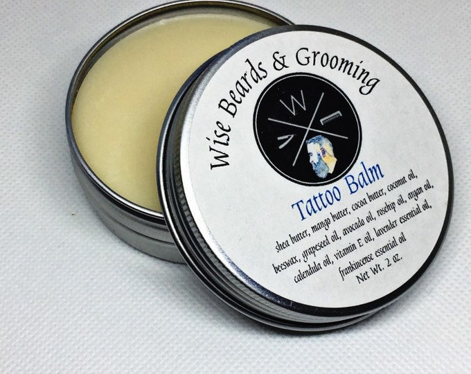 Tattoo Balm - Tattoo Salve - Tattoo Cream - Wise Beards & Grooming - Natural Products - Organic - Moisturizing Tattoo Lotion - Tattoo Care