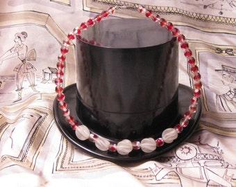 Vintage Cranberry Glass Choker