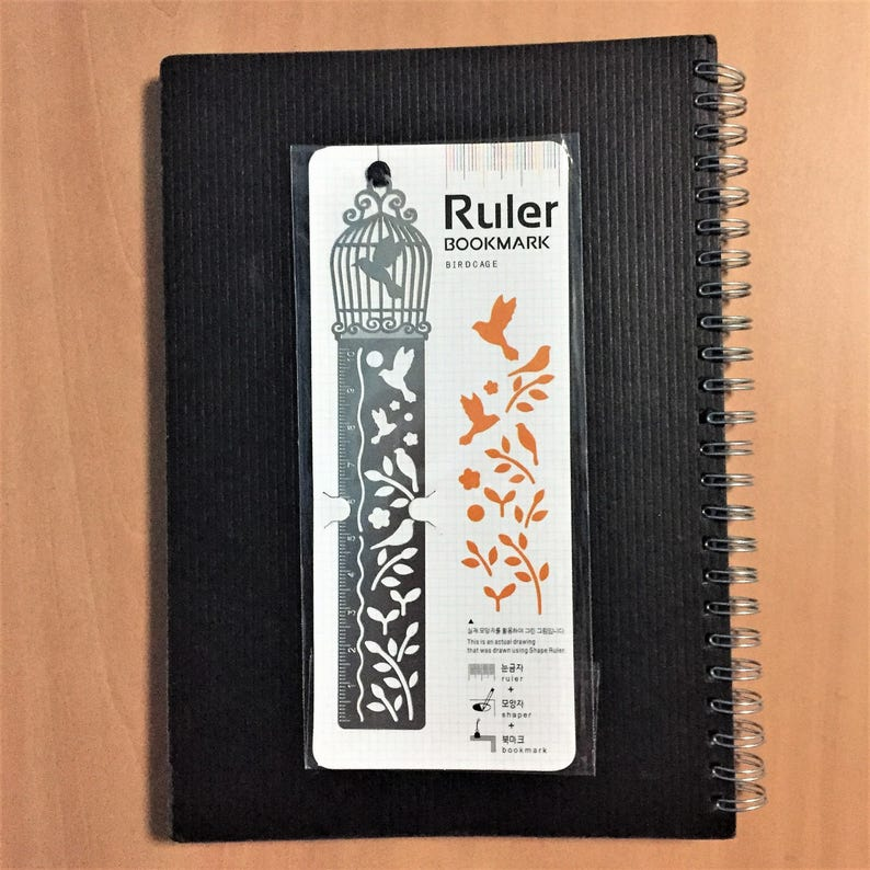 Ruler Bookmark Hot Air Balloon Merry-Go-Round Bullet Journal 14x2.4cm Stencil Fishbowl Stainless Steel Birdcage Stencils 4 Designs