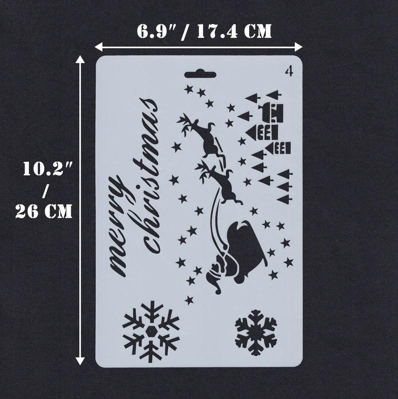 Santa Claus 26 x 17.4 cm Planner CHRISTMAS THEME Stencil Snow Flakes Journal Stencil Reindeer Soft Plastic Sheet 10.2 x 6.9