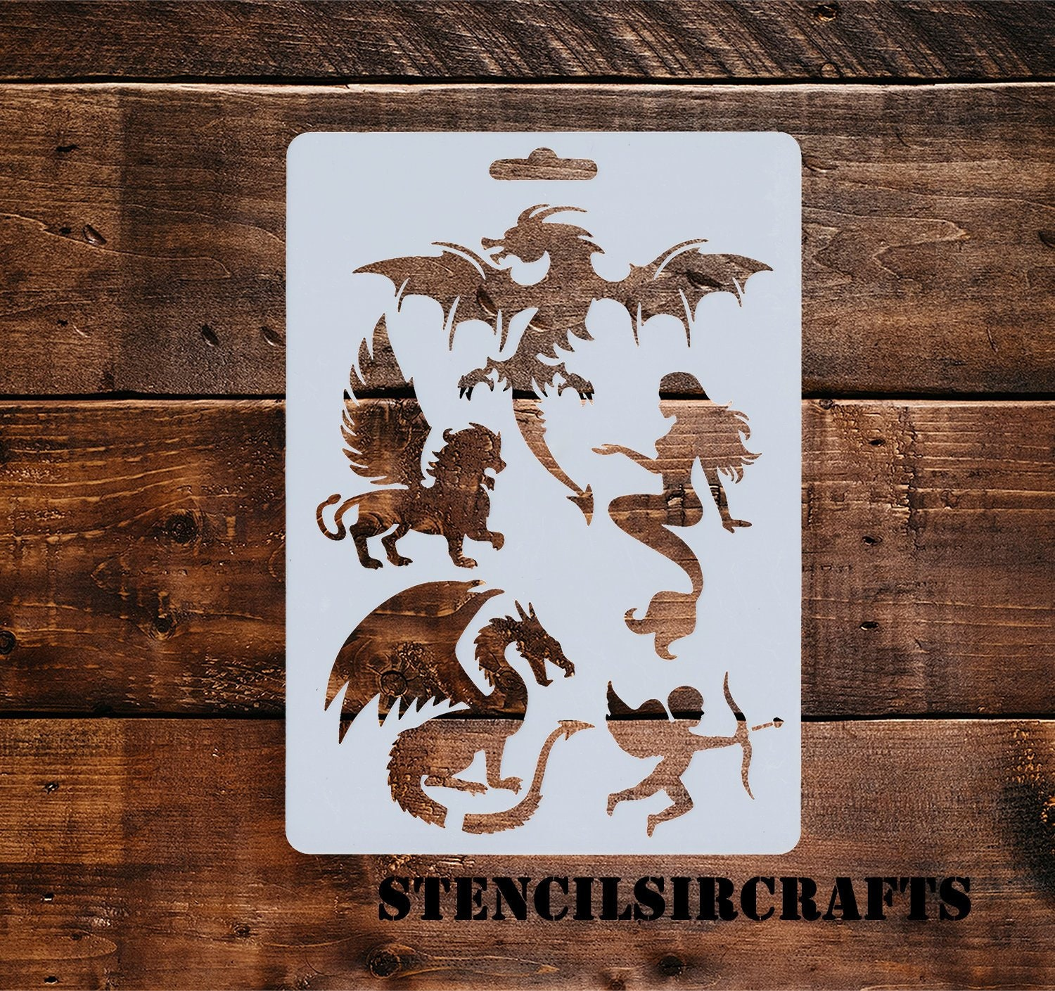 Mythical Creatures Stencil, Planner Stencil, Planner Accessory, Notebook  Stencil, Soft Plastic Sheet, 17 7 x 12 7 cm, 7