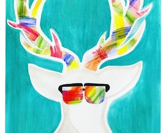Colorful Deer Painting (Watercolor + Acrylic)