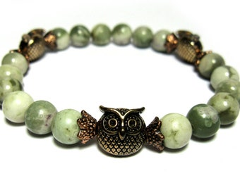 3 Gold Owls - Mottled Peace Jade, Three Antique Gold Toned Owls, Antique Gold Bead Caps. Roll on bracelet.