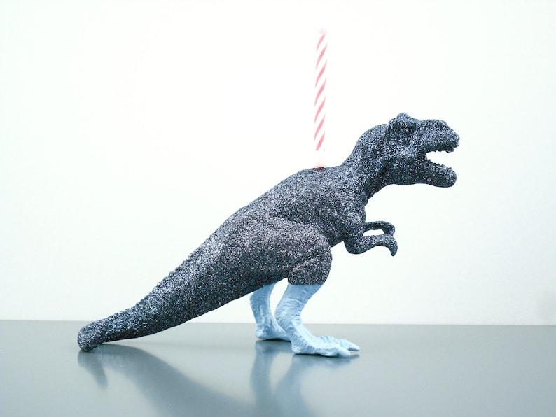 T Rex Birthday Candle Holder Cake Topper Dinosaur