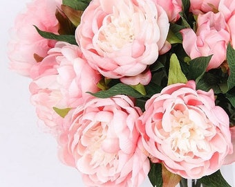 Peony silk flower etsy luxury silk flower silk peony stem in light pink 20 tall mightylinksfo